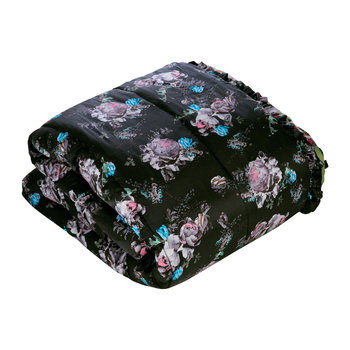 Wild Rose Quilted Eiderdown - Rose/Black - 230x220cm