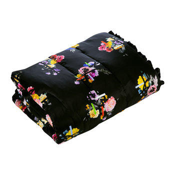 Graphic Floral Quilted Eiderdown - Duck Egg/Black - 140x205cm