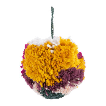 Colour Block Pom Pom Decoration - Purple