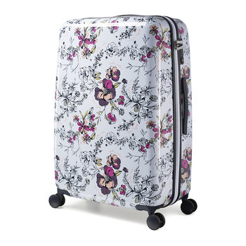 Sketchbook Floral Suitcase - White