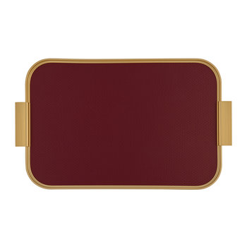 Ribbed Metal Tray with Handles - Bordeaux/Gold