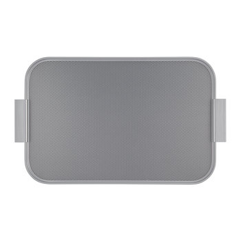 Ribbed Metal Tray with Handles - Pewter/Silver