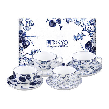 Flora Japonica Cup and Saucer Set - Set of 4