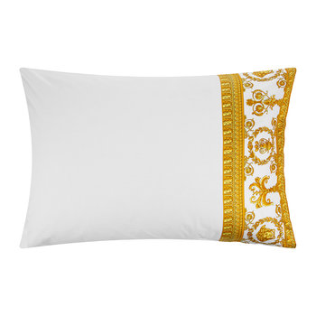 Barocco&Robe Queen Pillowcase Pair - White/Gold