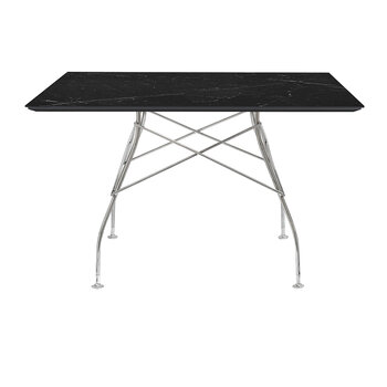 Glossy Chrome Square Table - Black Marble