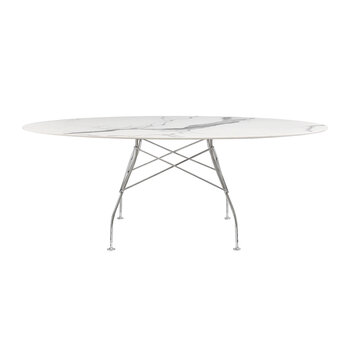 Glossy Chrome Oval Table - White Marble