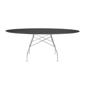 Glossy Chrome Oval Table - Black Marble