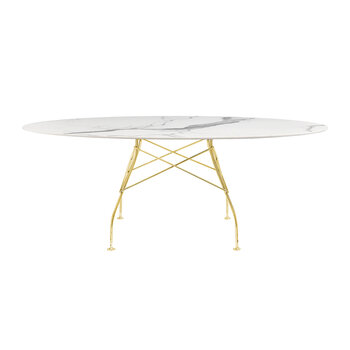 Glossy Gold Oval Table - White Marble