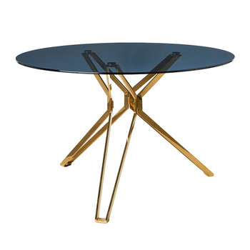 Round Glass Table - Gold
