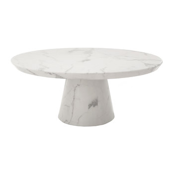 Disc Marble Look Coffee Table - White