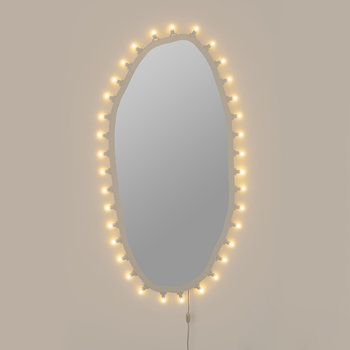 Luminarie Wooden Mirror with Bulbs