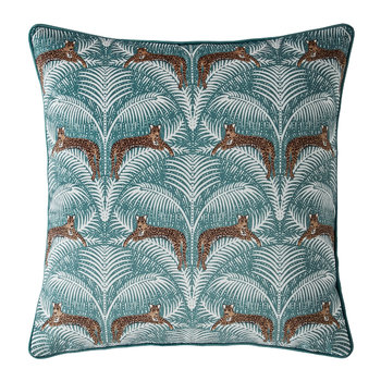 Lounging Leopards Pillow - Fern Green - 45x45cm