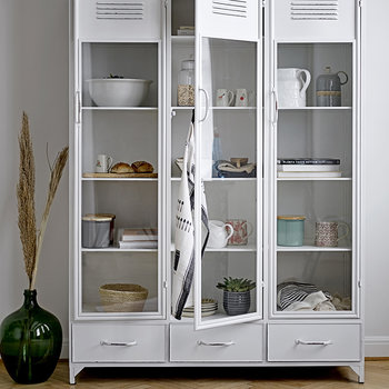 Iron and Glass Cabinet - White