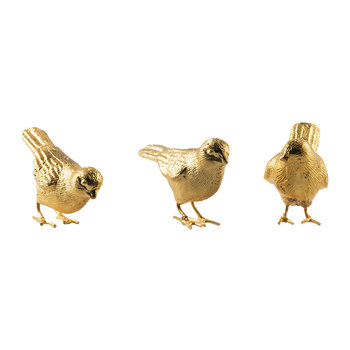 Sparrows Ornaments - Set of 3 - Gold