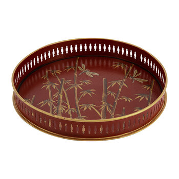 Hand Painted Chinoserie Tray - Round