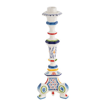 Turquerie Ceramic Candlestick Holder - Red/Blue