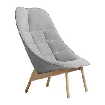 Uchiwa Quilted Armchair - Blue Grey/Oak