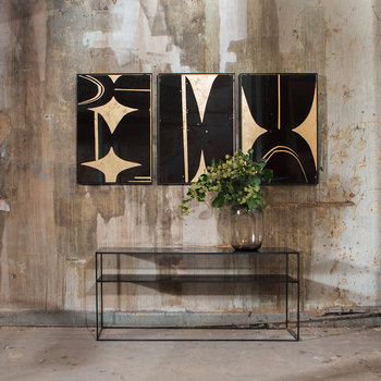 Heavy Aged Mirror Sofa Console - Bronze Copper Leaf