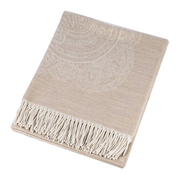 Salazar Raja Fringed Throw - 140x180cm - Beige