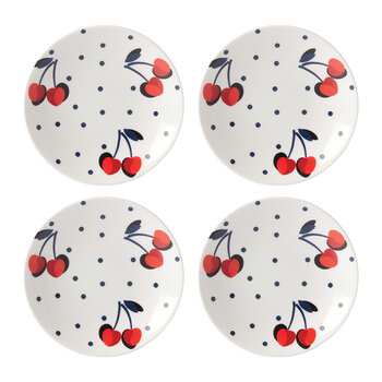Vintage Cherry Dot Tidbit Plate - Set of 4