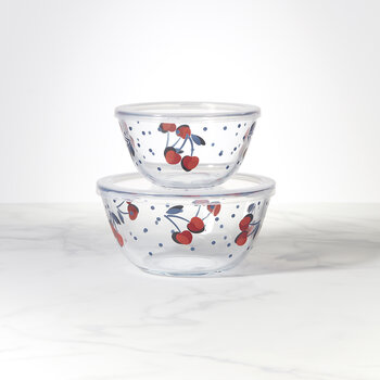 Vintage Cherry Dot Round Serve and Store - Set of 2