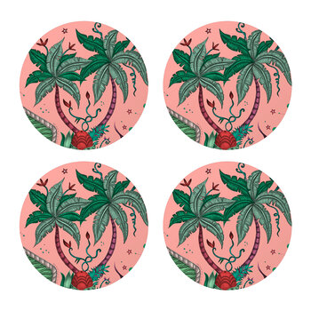 Lynx Coaster - Set of 4 - Pink