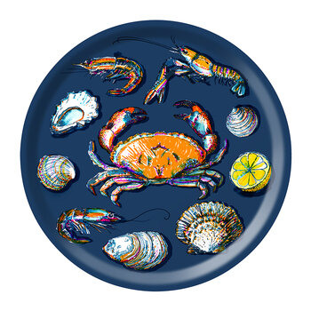 Seafood Round Tray - Navy
