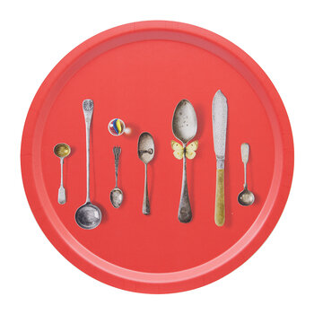 Cutlery Round Tray - Red
