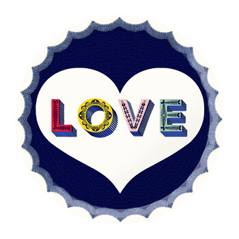 Love Round Tray - Navy