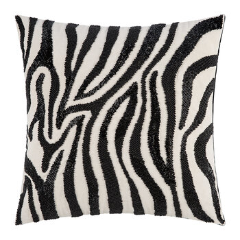 Zebra Beaded Cushion - 45x45cm
