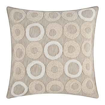 Embroidered Ring Cushion - 50x50cm - Natural