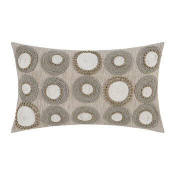 Embroidered Circle Cushion - 30x50cm - Natural