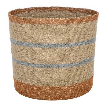 Striped Seagrass Storage Basket - Large
