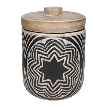 Patterned Pot With Lid - Black & White