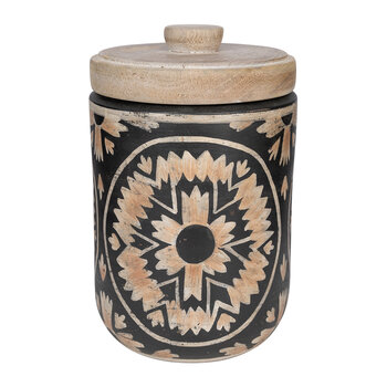 Patterned Pot With Lid - Black & Orange