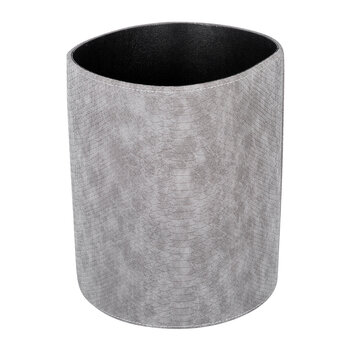 Round Faux Leather Waste Bin - Grey Croc