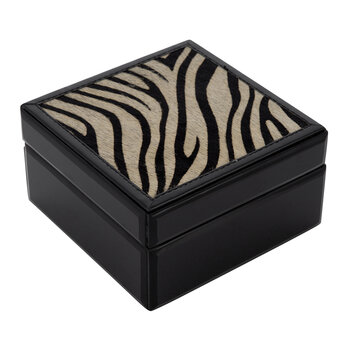 Resin & Hide Base Trinket Box - Zebra