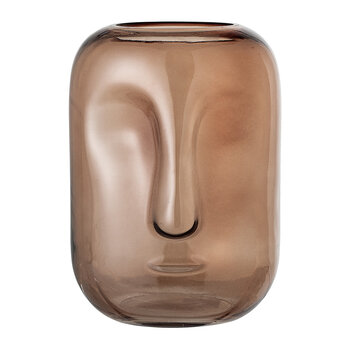 Face Glass Vase - Brown