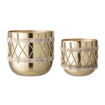 Detailed Flowerpot - Set of 2 - Gold