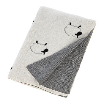 Kids Knitted Travel Pouch With Blanket - Sheep