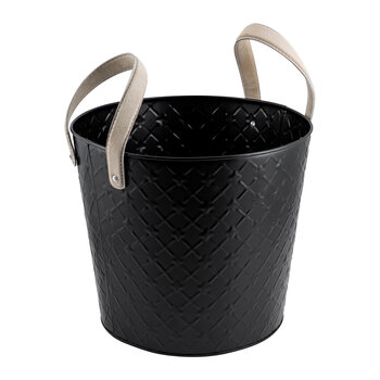 Quilted Look Log Bucket With Handles