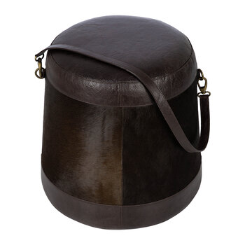 Hide Belted Pouf - Brown