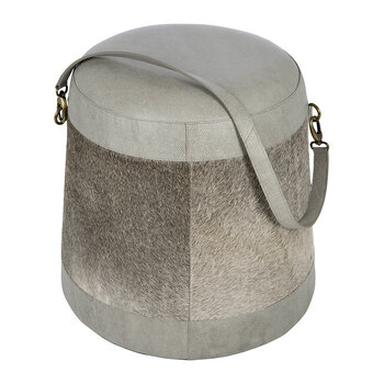 Hide Belted Pouf - Grey