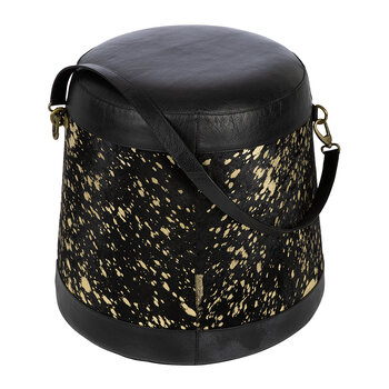 Hide Belted Pouf - Black & Gold