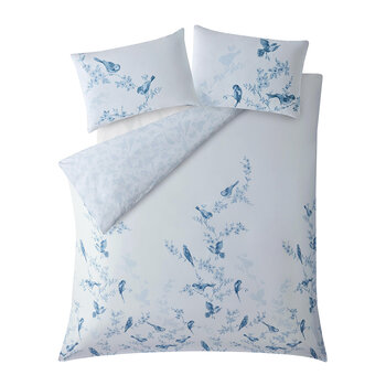 British Birds Quilt Set - Blue