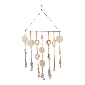 Wooden Bead and Tassel Wall Hanging