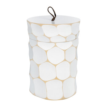 Circle Wooden Pot With Lid - White
