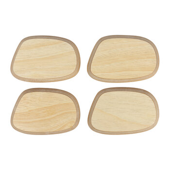 Irregular Wood Coaster - Set of 4 - Natural