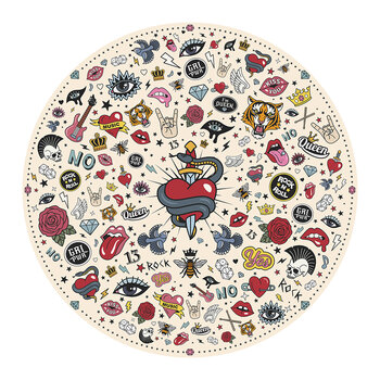 Tattoo Round Placemat - Cream