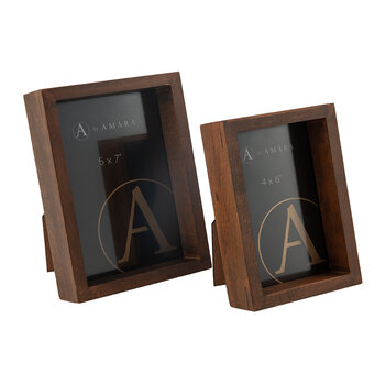 Inset Photo Frame - Set of 2 - Dark Wood